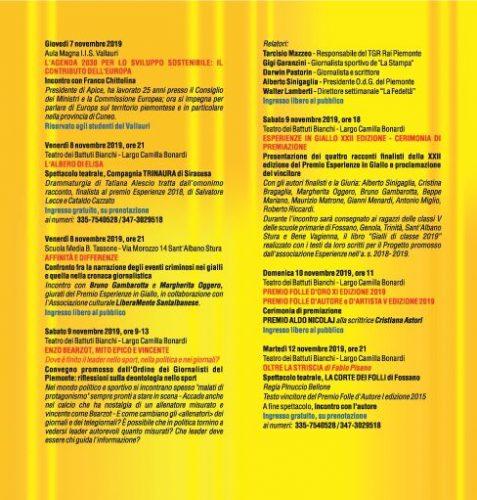 Il programma dell'edizione 2019 di Esperienze in Giallo